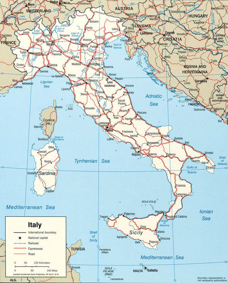 Political map of italy main roads railroads and cities