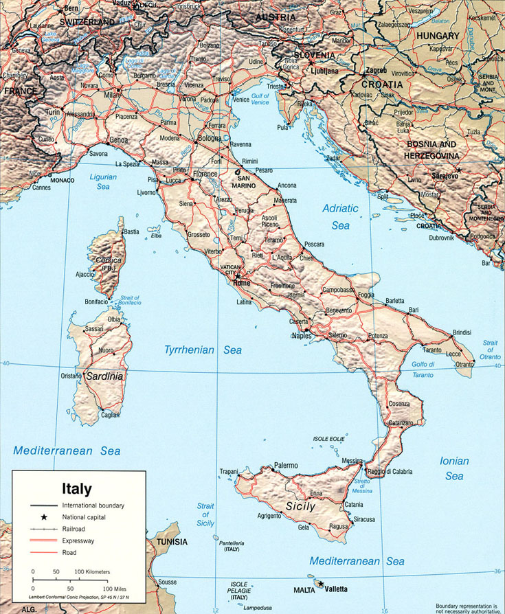 map of relief of italy